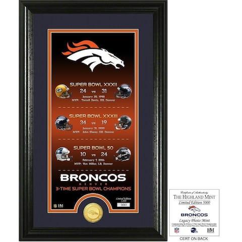 """Denver Broncos """"Legacy"""" Bronze Coin Photo Mint - Multi-color"""