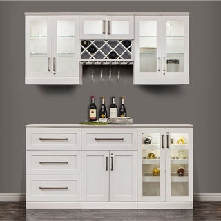 NewAge Products 72 Inch Wide 7 Piece White Shaker Style Home Bar