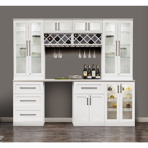 Charmant NewAge Products White Shaker Style 8 Piece Home Bar Cabinet System