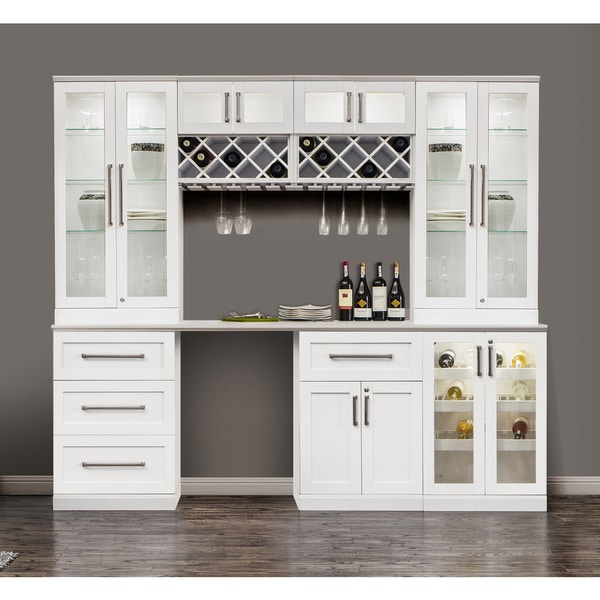 Newage Products White Shaker Style 8 Piece Home Bar Cabinet System