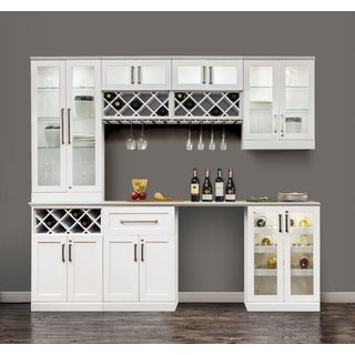 NewAge Products 96 in. W x 25 in. D White Shaker Style 8-piece Home Bar