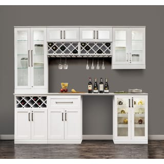 NewAge Products 72-inch Wide x 25-inch Deep White Shaker Style 8-piece Home Bar