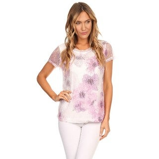 High Secret Women's Lavender Embellished Abstract Floral Lace Top