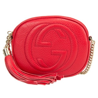 Gucci Soho Leather Mini Chain Bag Red w/ Light Gold Hardware