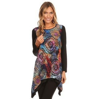 High Secret Women's Multicolor Abstract Print Long Sleeve Tunic