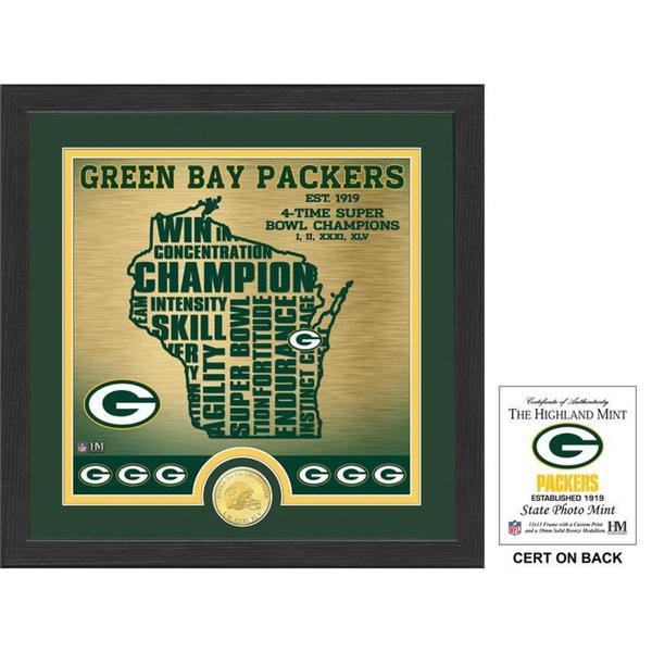 """Green Bay Packers """"State"""" Bronze Coin Photo Mint"""