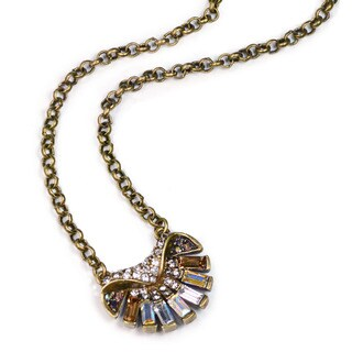Sweet Romance Brass Crystal Art Deco Aurora Ocean Shell Pendant Necklace