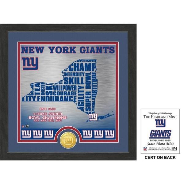 """New York Giants """"State"""" Bronze Coin Photo Mint"""