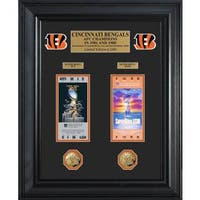Cincinnati Bengals Super Bowl Ticket and Game Coin Collection Framed
