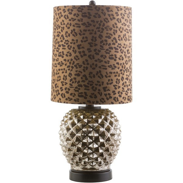 Akio Table Lamp with Painted Glass Base - Brown