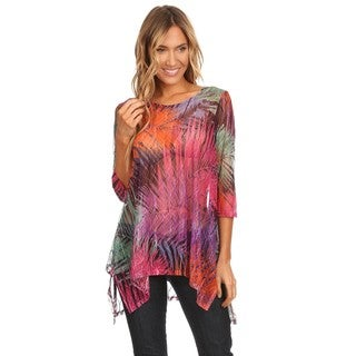 High Secret Women's Multicolored Abstract Print Mesh Tunic