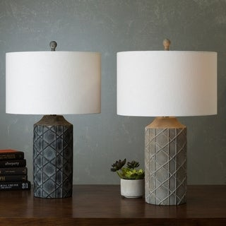 Castr Table Lamp with Antique Resin Base and Linen Shade