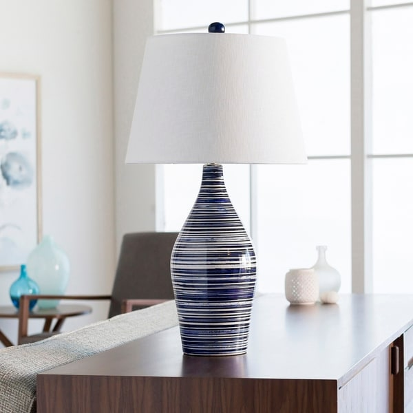 Shop Cooke Classic Blue Amp White Striped Table Lamp On