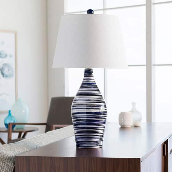 Cooke Clic Blue White Striped Table Lamp On