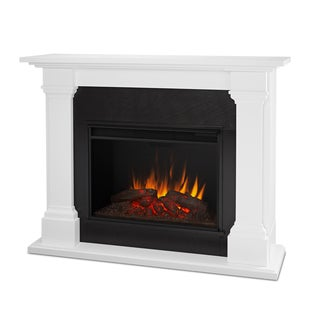 Real Flame Callaway White 63 in. L x 17.25 in. W x 48 in. H Grand Electric Fireplace