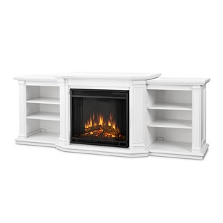 Real Flame Valmont White Finish 75.5 in. L x 21.5 in. D x 27.7 in. H Electric Entertainment Fireplace