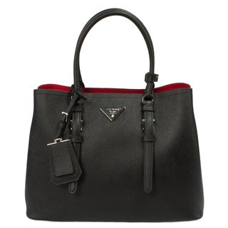 Prada Double Bag in Black Saffiano Leather w/ Silver Hardware