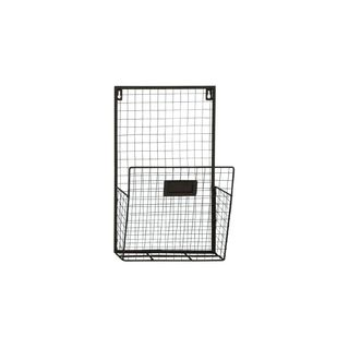 Black Iron 26-inch High x 10-inch Wide Wire Wall Pocket