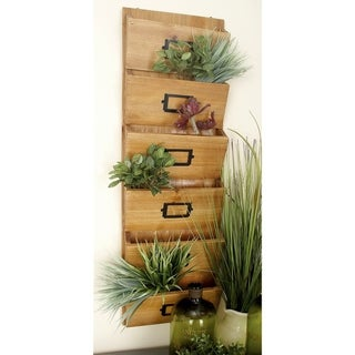 Rustic 36 x 12 Inch Wooden 6-Tiered Wall Letter Holder by Studio 350