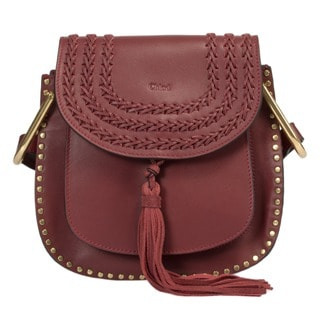 Chloe Hudson Calfskin Shoulder Bag in Raisin Torte with Gold Hardware Size Small
