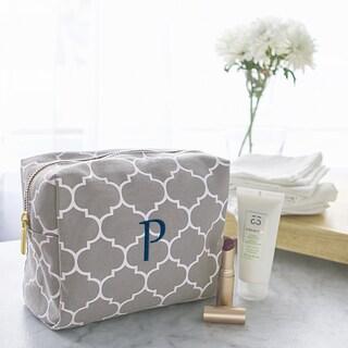 Personalized Grey Moroccan Lattice Cosmetic Bag