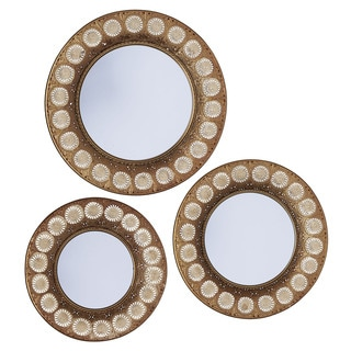 Household Essentials Gold Sunburst 3-piece Mirror Set