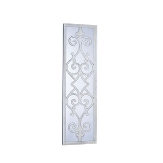 Household Essentials White Framed Decorative Scroll Wall Mirror