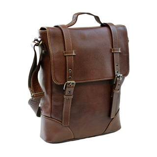 Piel Leather Black/Brown Deluxe Vertical Briefcase
