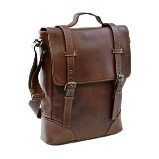 Piel Leather Black/Brown Deluxe Vertical Briefcase