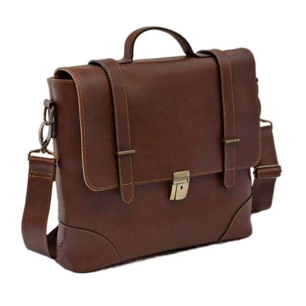 Piel Leather Deluxe Executive Portfolio Messenger Bag