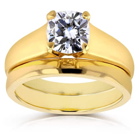 Annello by Kobelli 14k Yellow Gold 1 1/10ct Cushion Moissanite Classic Solitaire Bridal Set