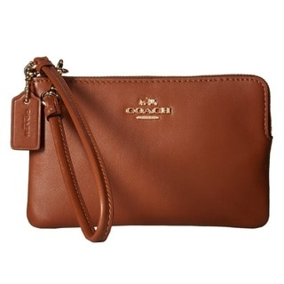 Coach Smooth Saddle Leather Corner Zip Wallet