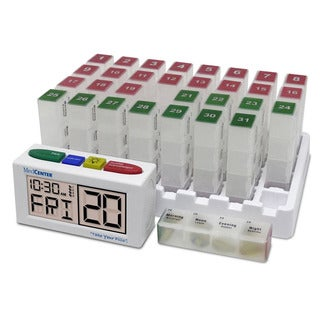 MedCenter Compact Low-profile Monthly Organizer System and Talking Pill Reminder