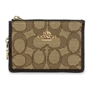 Coach Signature Mini ID Skinny Brown Wallet