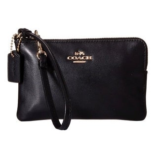 Coach Smooth Black Leather Corner Zip Wallet