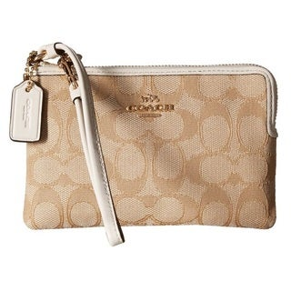 Coach Signature Khaki/Chalk Corner Zip Wallet