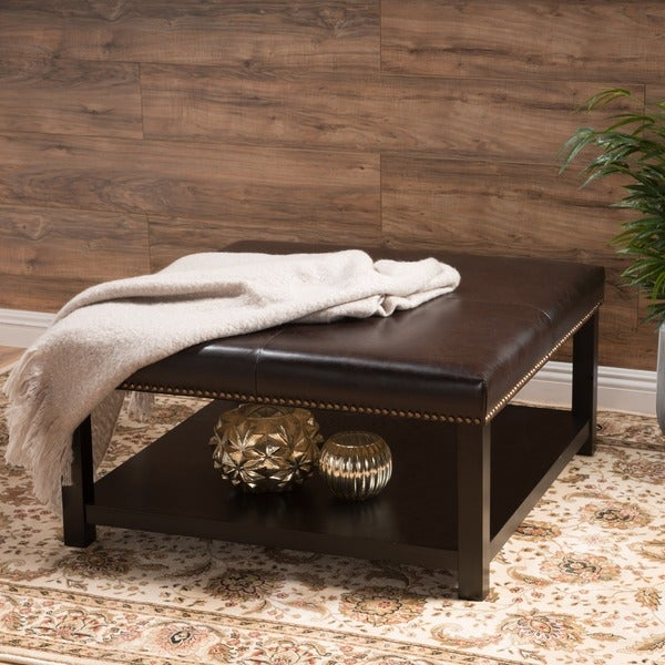 "Avary Wood Square Ottoman Table with Bottom Rack by Christopher Knight Home - 34.25""L x 35.25""W x 18.25""H. Opens flyout."