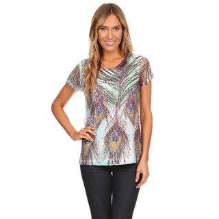 High Secret Women's Multicolor Embellished Feather Print Top