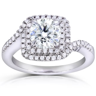Annello by Kobelli 14k White Gold 1ct Round Moissanite Classic and 1/5ct TDW Diamond Ring