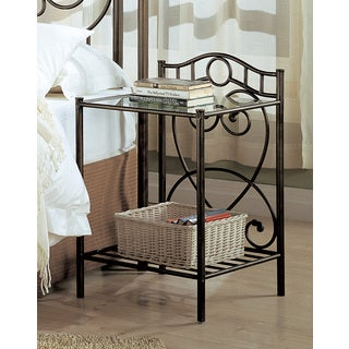 coaster company antique bronze metal 2shelf nightstand