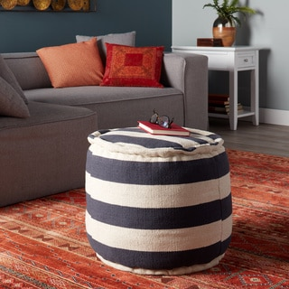 Classic Stripe Round Pouf (India)