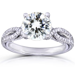 Annello by Kobelli 14k White Gold 1ct Round Moissanite Classic and 1/3ct TDW Diamond Ring