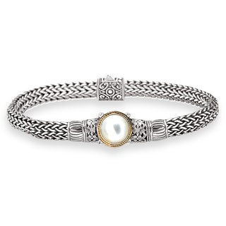 Avanti Sterling Silver And 18k Yellow Gold Mabe Pearl Bracelet