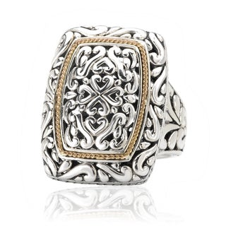 Avanti Sterling Silver and 18k Yellow Gold Rectangular Swirl Design Ring