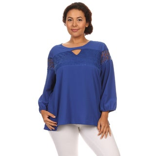 Hadari Woman Plus size chiffon long sleeves top with lace trim embroidery