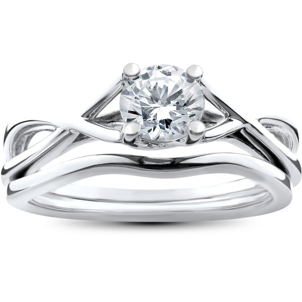 Diamond Rings For Sale Walmart: Shop 14k White Gold 1/2ct Intertwined Solitaire Diamond