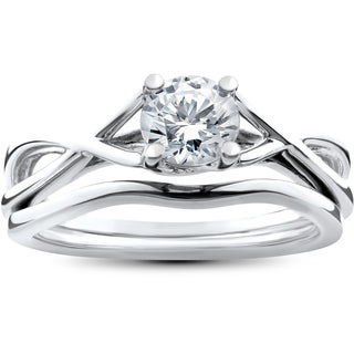 14k White Gold 1/2ct Intertwined Solitaire Diamond Engagement Ring Matching Wedding Band Set