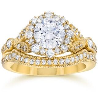 14k Yellow Gold 1 1 2ct TDW Diamond Halo Clarity Enhanced Vintage Engagement Ring And Wedding Band Set I J I2 I3