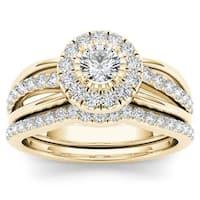 De Couer 14k Yellow Gold 3/4ct TDW Diamond Halo Bridal Set