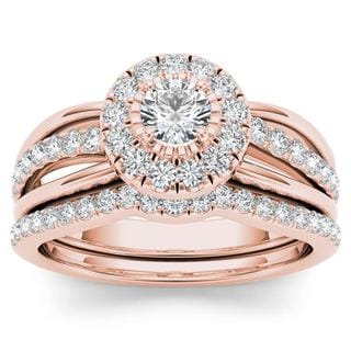 De Couer 14k Rose Gold 3/4ct TDW Diamond Halo Bridal Set